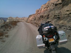 Rear view of Maya's motorcycle while on an adventure