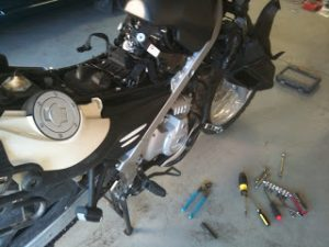 Motorcycle in pieces while being repaired
