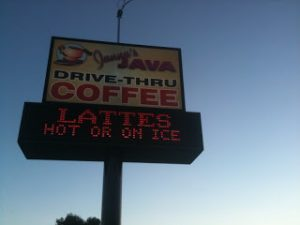 Janna's Java Drive-Thru Coffee Lattes Hot or on Ice