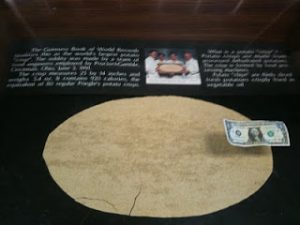 Largest chip on display with comparison to one dollar bill.