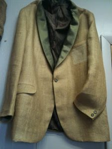 A jacket made out of burlap.