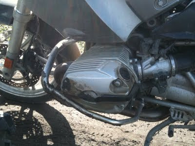 Engine of a motorcycle that is cracked