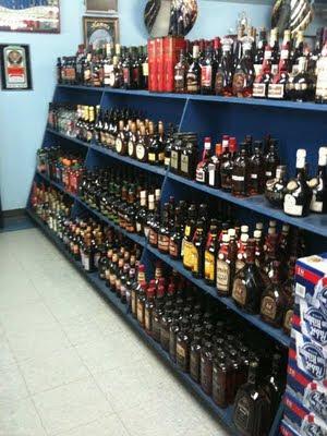Shelves of liquor