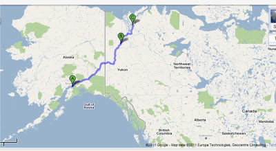 Map of the trip riding the Dempster Highway to Inuvik