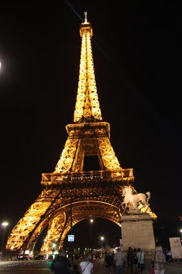 The Eiffel Tower alight at night