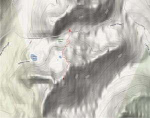 A map of April Bowl near Summit Lake and Hatcher Pass