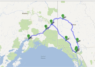 A map summarizing the motorcycle trip with points A (Alaska) through F (Canada)