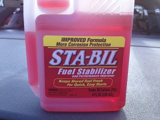 Image of bottle of Sta-bil Fuel Stabilizer for motorcycle