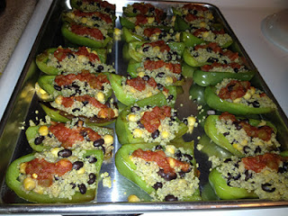 Quinoa and lentil stuffed peppers