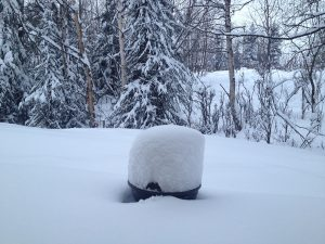 Image of a grill covered in snow