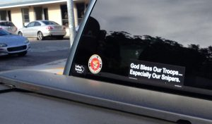 "Image of bumper sticker reading, ""God Bless Our Troops... Especially Our Snipers"""