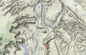 Map of Hurrah Pass, southwest of Moab, Utah and the Colorado River Valley near Dead Horse Point State Park