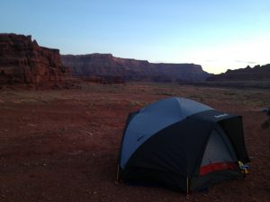 Image of tent set up in the Utah desert