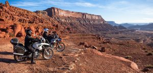 Image of Michael and Judy on their motorcycles in Moab, Utah