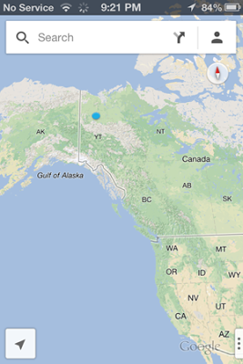 Image of a phone screenshot of a map designating Eagle Plains, YT, Canada