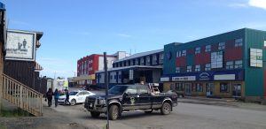 Image of the very small downtown Inuvik with a few small shops