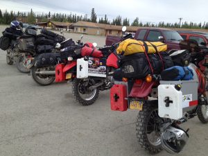 Image of 5 motorcycles parked