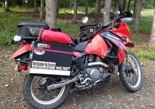 Maya's Alaskan motorcycle - Kawasaki KLR650