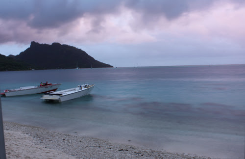 Image of a Huahine sunset from the deck