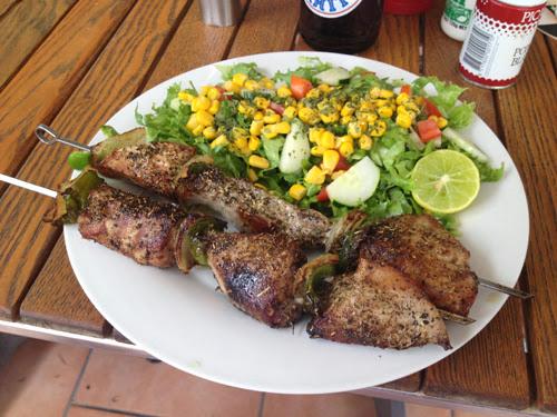 Image of skewered tuna with vegetables