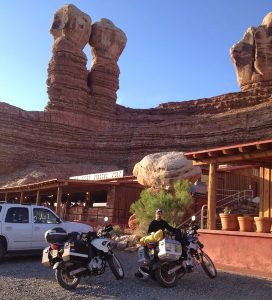 Image of Michael standing with his motorcycle in front of Twin Rocks Restuarant