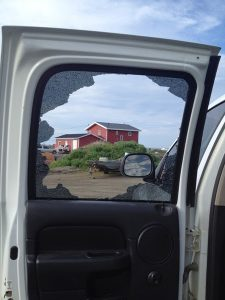 Image of a Shattered truck window