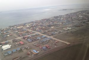 Image of Nome taken from inside a plane