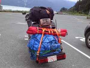 Image of a motorcycle cramp packed with gear