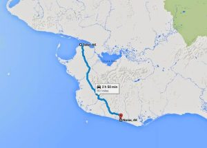 Image of a map showing the relationship between Nome and Teller: 70.1 miles and 2 hours and 50 mins of driving