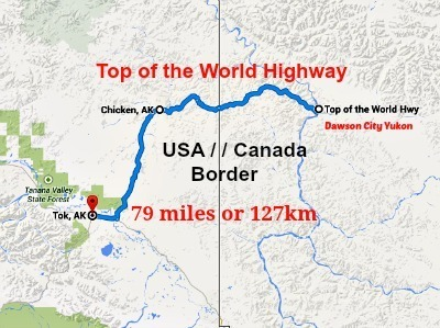 Image of a map of the Top of the World Highway