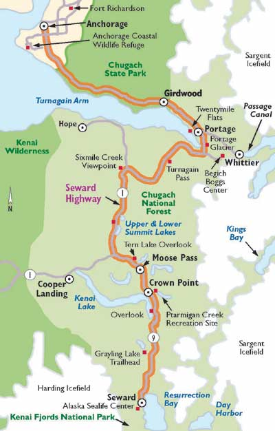 Image of a map of the Seward Highway